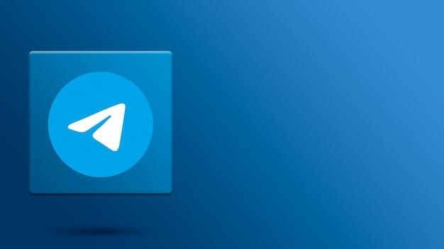 Telegramm-logo auf 3d-plattform