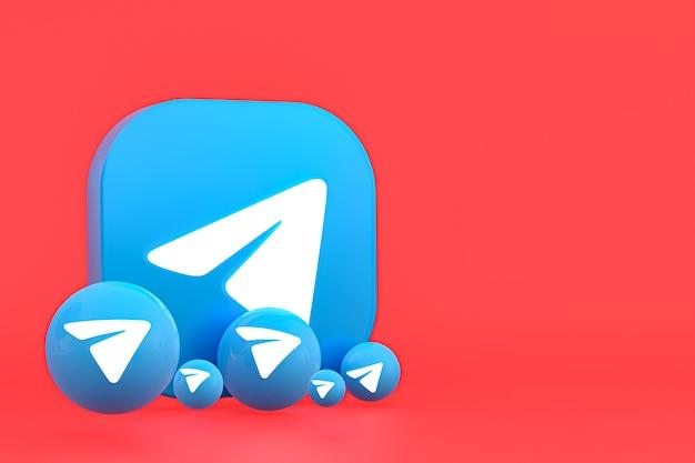 Telegramm minimal logo 3d-rendering hautnah für design-hintergrundvorlage