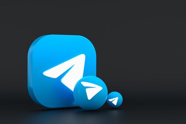 Telegramm minimales logo 3d-rendering nahaufnahme für design-hintergrundvorlage