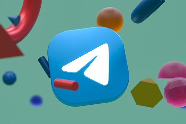 Telegrammlogo auf abstraktem geometriehintergrund