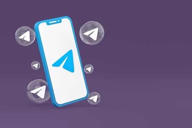 Telegrammsymbol auf dem bildschirm smartphone oder handy 3d-rendering