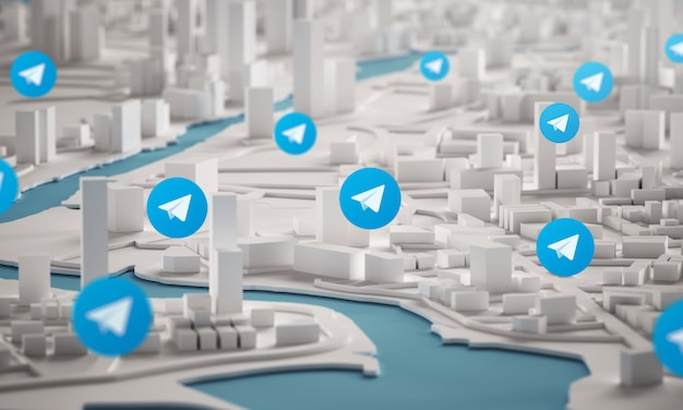 Telegrammsymbol über luftaufnahme von stadtgebäuden 3d-rendering