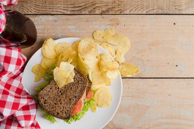 Teller mit sandwich und pommes