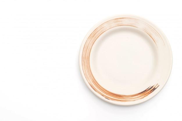 Teller und schüssel isoliert auf weißem hintergrund