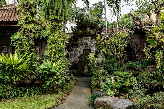 Tempel im dschungel der insel bali.