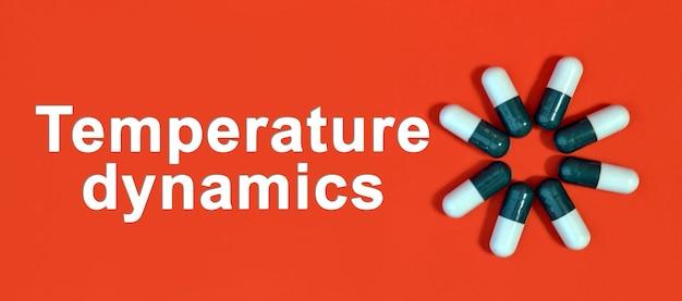 Temperaturdynamik - weißer text auf rotem hintergrund mit pillenkapseln