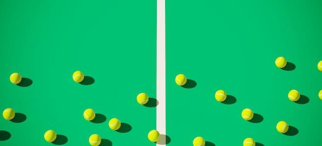 Tennisball auf grünem tennisplatzhintergrund