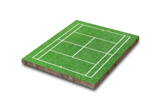 Tennisplatz lokalisiert auf weißem hintergrund. grünes gras realistisch. 3d-rendering