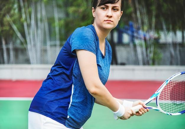 Tennisspieler bereit zu einem match