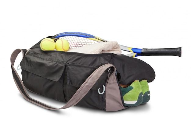 Tennissporttasche. mit schläger und tennisball.