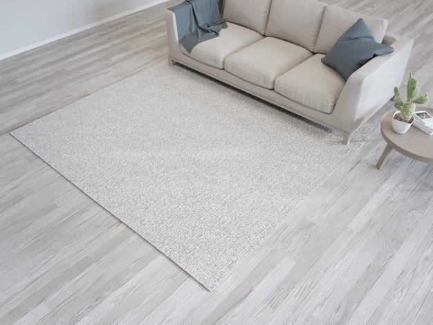 Teppich und sofa nahe weißer wand des hellen wohnzimmers im modernen haus