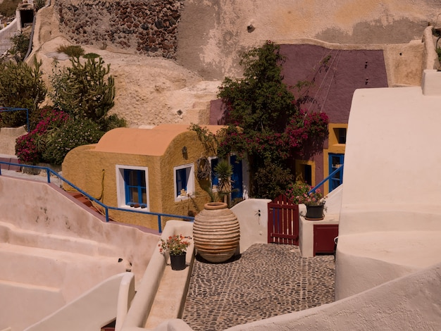 Terrasse in santorini griechenland