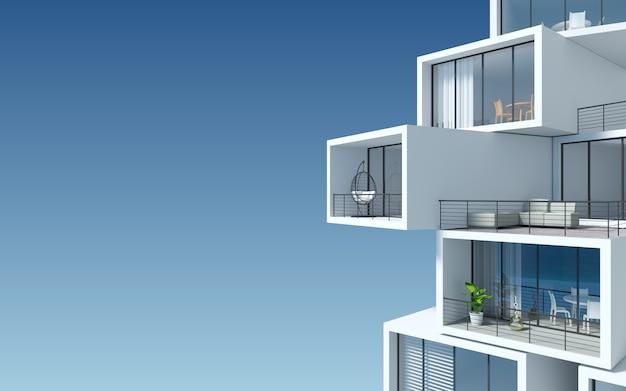 Terrassenförmiges wolkenkratzergebäude aus blockcontainern.