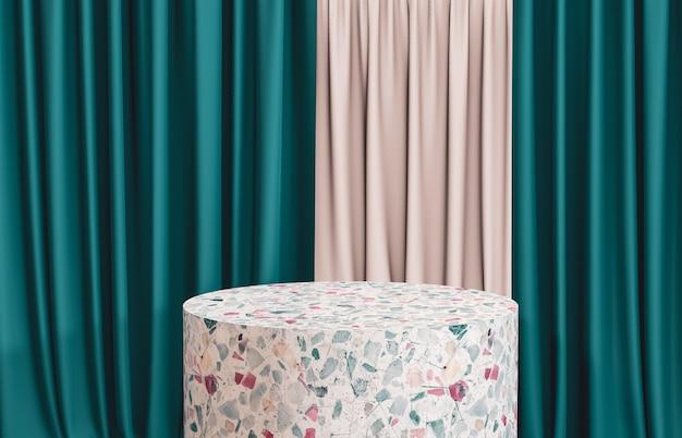 Terrazzo cylinder box podest mit grünem vorhang zur produktpräsentation. 3d render. luxusszene.