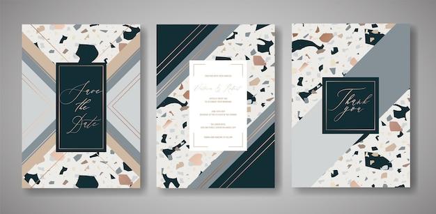 Terrazzo-hochzeits-einladungskarten-set. luxuriöse geometrische abstrakte designvorlage für grüße, banner, poster mit marmorstruktur. speichern sie das datum, rsvp. vektor-illustration