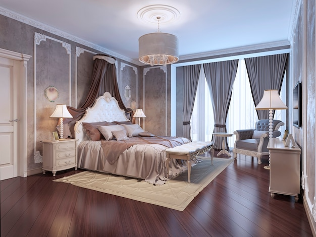 Teuer innenraum des böhmischen schlafzimmers