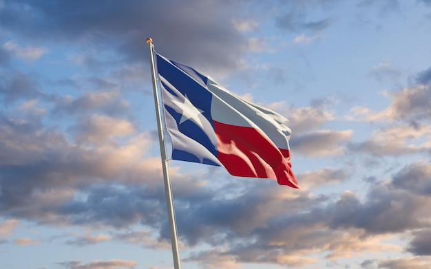 Texas us-staatsflagge am himmel
