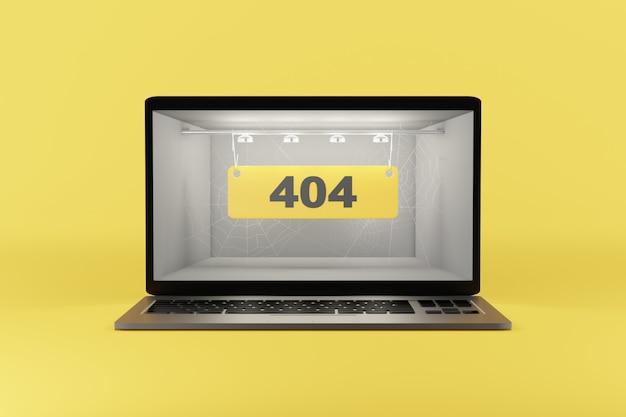 Text auf dem computerbildschirm auf gelbem hintergrund