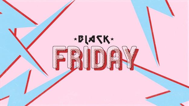Text black friday auf retro-rosa-hipster und grunge-hintergrund mit blitz. elegante und luxuriöse 3d-illustration für geschäfts- und unternehmensvorlagen