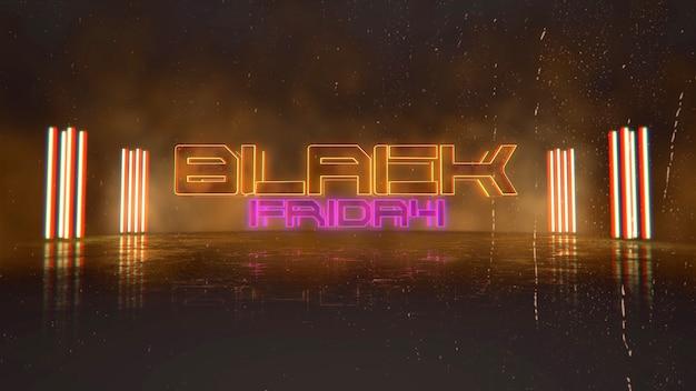 Text black friday und cyberpunk-hintergrund mit neonlichtern in der stadt. moderne und futuristische 3d-illustration für cyberpunk- und filmthemen