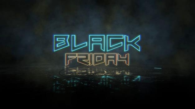 Text black friday und cyberpunk-hintergrund mit neonlichtern. moderner und futuristischer 3d-illustrationsstil für cyberpunk- und filmthemen