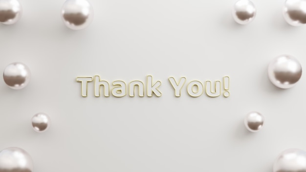 Text danke modernes gold mit minimalistischem 3d-illustrationsrendering im weißen hintergrund
