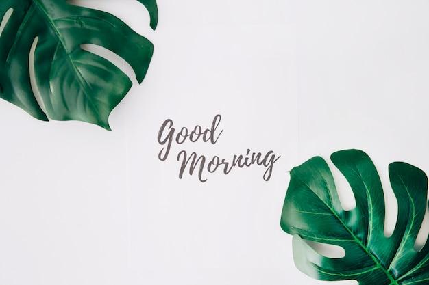 Text des gutenmorgens auf papier nahe dem schweizer käseblatt gegen weißen hintergrund