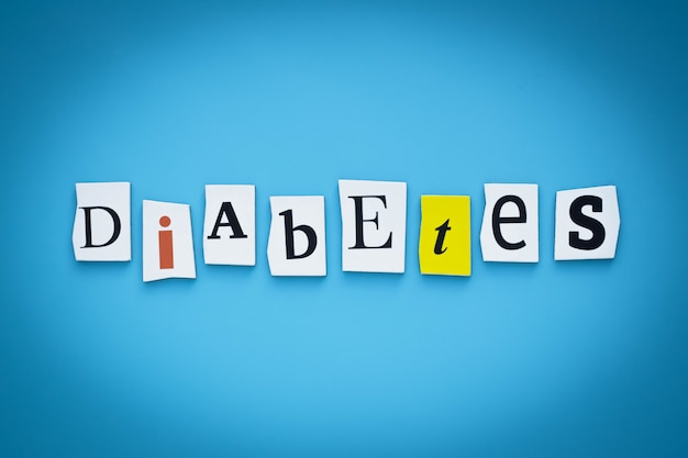 Text - diabetes. einzelnes wort. inschrift auf banner.