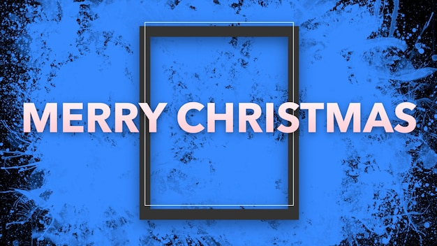 Text frohe weihnachten auf blauem grunge- und hippie-hintergrund mit rahmen. elegante und luxuriöse 3d-illustration für geschäfts- und unternehmensvorlagen