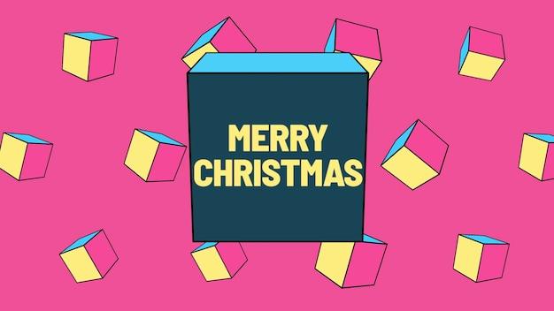 Text frohe weihnachten und abstrakte geometrische formen, memphis-hintergrund. eleganter und luxuriöser 3d-illustrationsstil für geschäfts- und unternehmensvorlagen