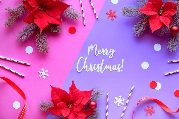 Text frohe weihnachten weihnachtsstern schneeflocken