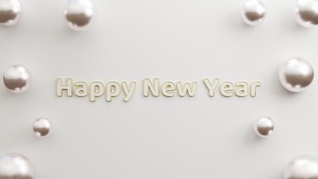 Text frohes neues jahr modernes gold mit weißem hintergrund minimalistischen stil 3d-darstellung rendering