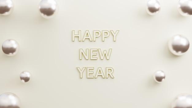Text guten rutsch ins neue jahr modernes gold mit minimalistischem 3d-illustrations-rendering des weißen hintergrundes