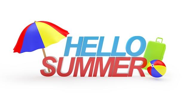 Text hallo sommer mit sonnenschirm und ball