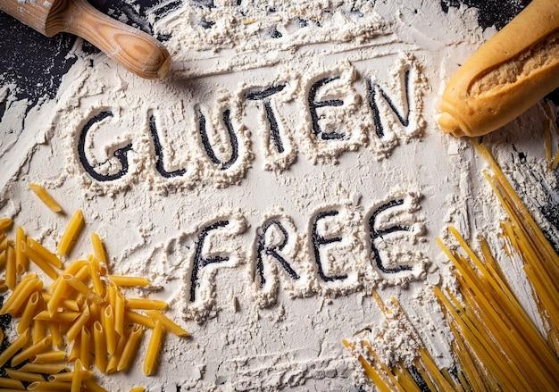 Text in glutenfreiem mehl mit glutenfreien zutaten
