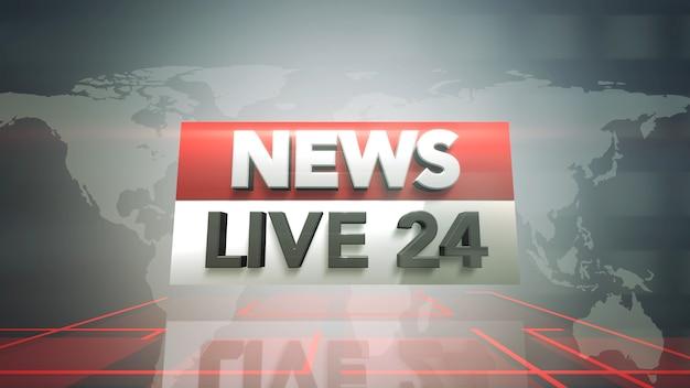 Text news live 24 und nachrichtengrafik mit linien und weltkarte im studio, abstrakter hintergrund