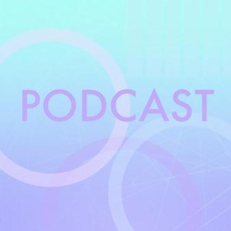 Text podcast auf bunten buchstaben, linien und formen.