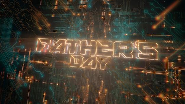 Text vatertag und cyberpunk-hintergrund mit computerchip und neonlichtern. moderne und futuristische dynamische 3d-illustration für cyberpunk- und technologiethemen