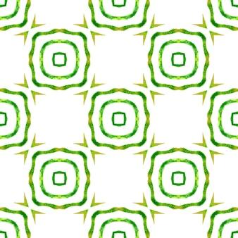 Textilfertiger ansprechender druck, badebekleidungsstoff, tapete, verpackung. grünes fantastisches boho-chic-sommerdesign. exotisches nahtloses muster. sommer exotische nahtlose grenze.