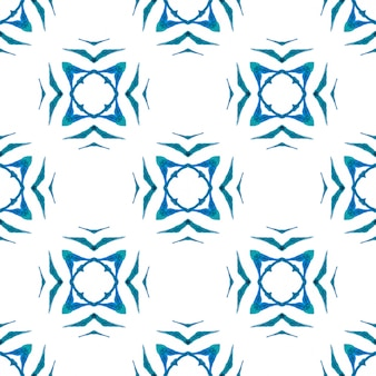 Textilfertiger außergewöhnlicher druck, bademodenstoff, tapete, verpackung. blaues, hypnotisches boho-chic-sommerdesign. medaillon nahtlose muster. aquarell medaillon nahtlose grenze.