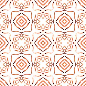 Textilfertiger fantastischer druck, badebekleidungsstoff, tapete, verpackung. orange hinreißendes boho-chic-sommerdesign. handgemalte gekachelte aquarellgrenze. mit ziegeln gedeckter aquarellhintergrund.