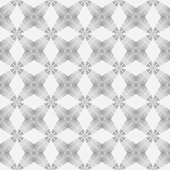 Textilfertiger, glänzender print-badebekleidungsstoff, der schwarz-weiß-ideales boho-chic-design einwickelt, handgezeichnete tropische nahtlose grenze tropisches nahtloses muster