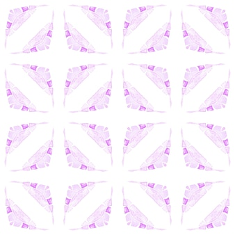Textilfertiger symmetrischer druck, bademodenstoff, tapete, verpackung. lila überwältigender boho-chic-sommerentwurf. mit ziegeln gedeckter aquarellhintergrund. handgemalte gekachelte aquarellgrenze.