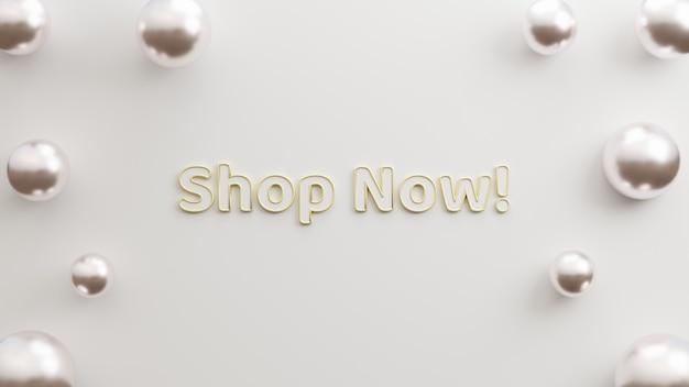 Textshop jetzt modernes gold mit weißem hintergrund minimalistischen stil 3d-darstellung für flyer