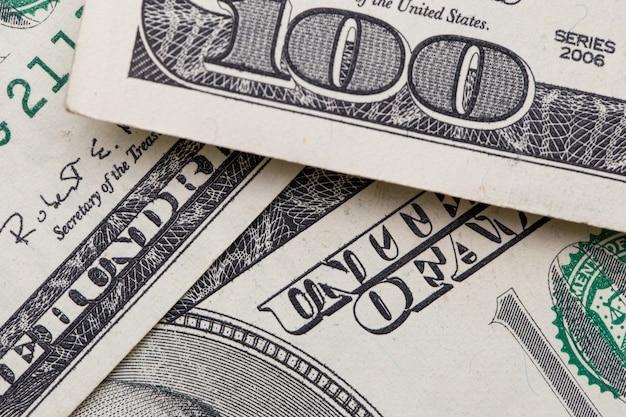 Textur der dollarnoten. einhundert dollar.