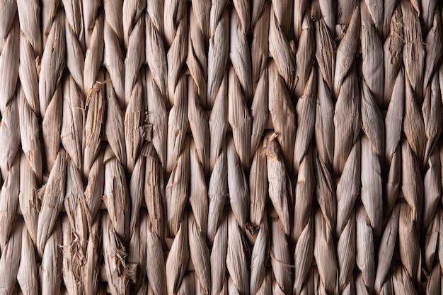 Textur der hellbraunen weidenkorb-nahaufnahme