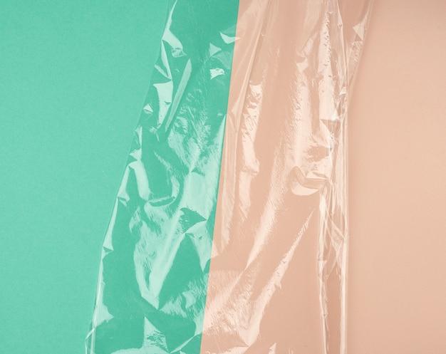 Textur einer transparenten dehnbaren kunststofffolie für verpackungsprodukte