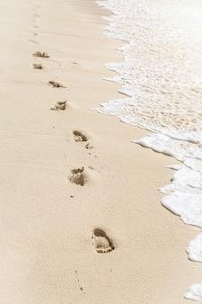Textur fußabdrücke von menschlichen füßen auf dem sand nahe dem wasser am tropischen strand, vertikale zusammensetzung