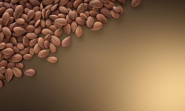 Textur vieler mandeln auf golden