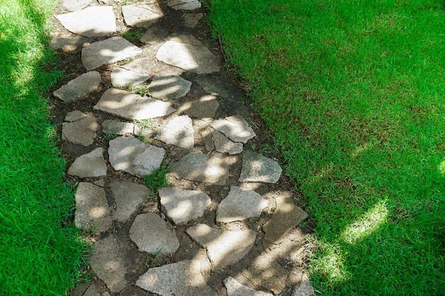Textur von bürgersteig betonboden und grasbewachsenem design, steingehweg mit grünem gras im park